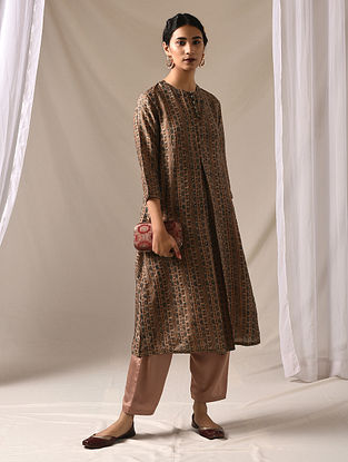 KALABHA - Beige-Green Block Printed Mulberry Silk Kurta with Mukaish