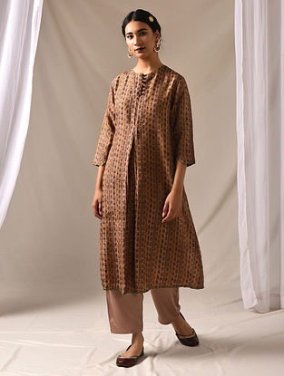 KARNIKA - Beige-Maroon Block Printed Mulberry Silk Kurta with Mukaish