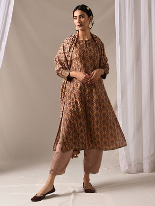 MRIGAKSHI - Beige-Maroon Block Printed Mulberry Silk Kurta with Mukaish