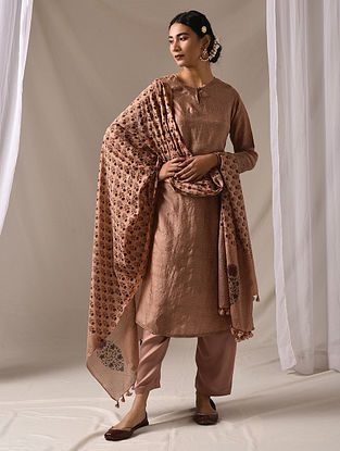MENAKA - Beige Block Printed Mulberry Silk Kurta with Mukaish