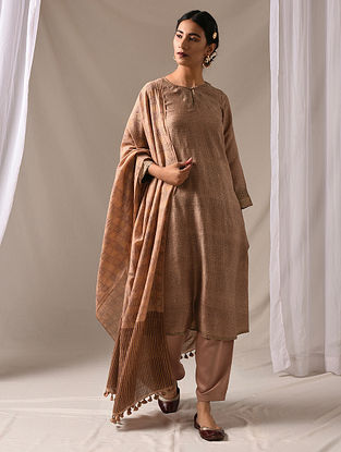 RAMBHA - Beige Block Printed Mulberry Silk Kurta with Mukaish