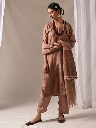 TILOTTAMA - Beige Block Printed Mulberry Silk Kurta with Mukaish