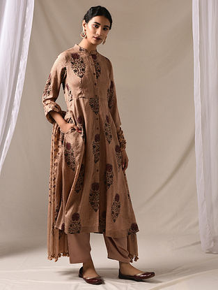 SUKESI - Beige Block Printed Mulberry Silk Kurta with Mukaish