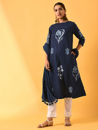 PANKHURI - Blue Block Printed Cotton Linen Kurta