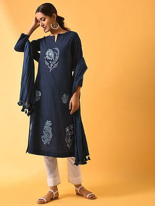 KALI - Blue Block Printed Cotton Linen Kurta