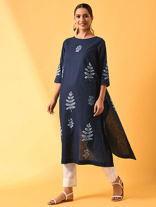 PALLAVI - Blue Block Printed Cotton Linen Kurta