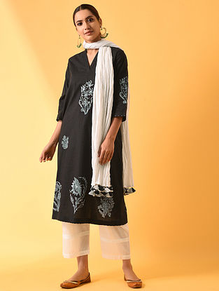 VARAQA - Black Block Printed Cotton Linen Kurta