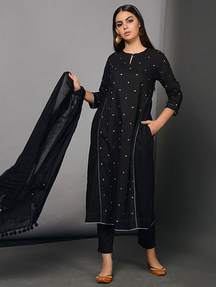 NERO - Black Cotton Dobby Kurta with Embroidery and Gathers
