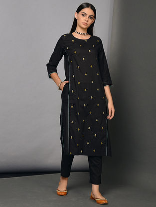 PRETO - Black Cotton Dobby Kurta with Embroidery