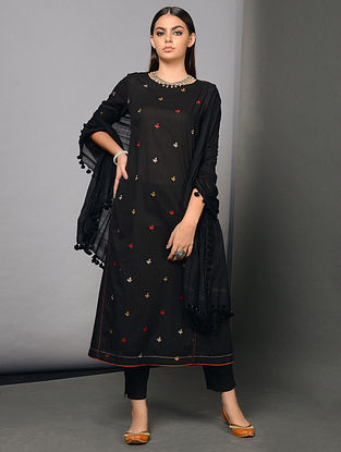 KALI - Black Cotton Dobby Kurta with Embroidery