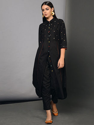 ASWAD - Black Cotton Dobby Front Open Kurta with Embroidery