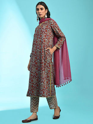 CHAAHAT - Blue Block Printed Cotton Kurta with Pockets