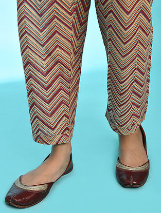 ROOHI - Blue-Pink Tie-up Waist Block Printed Cotton Pants