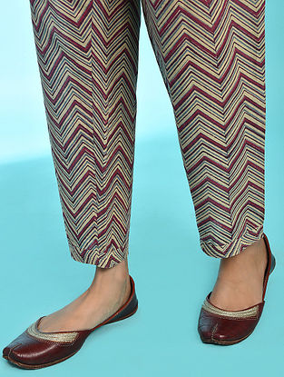 HAFIZA - Rust-Blue Tie-up Waist Block Printed Cotton Pants