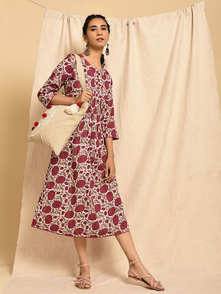 SUMAN - Pink-Red Block Printed Cotton Dress with Gathers