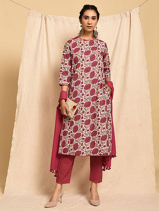KUSUM - Pink-Red Block Printed Cotton Kurta with Pockets