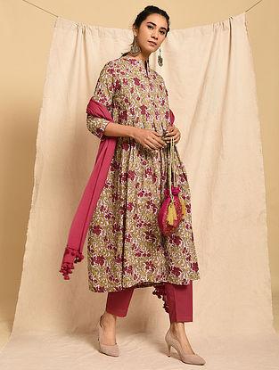 MANJARI - Pink-Red Block Printed Cotton Kurta with Pleats