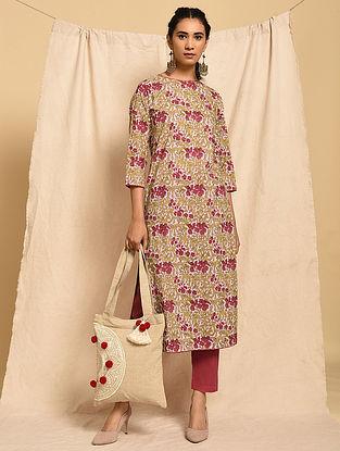 KEYA - Pink-Red Block Printed Cotton Kurta