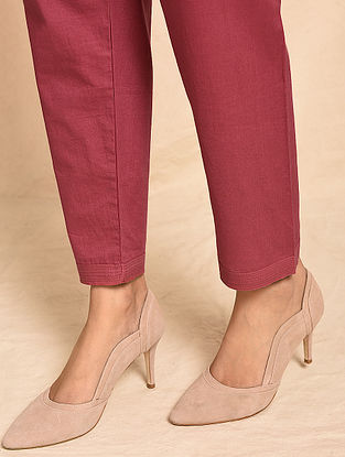 KALI - Red Elasticated Waist Cotton Pants