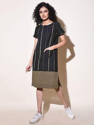 DILKASH - Black Cotton Mangalgiri Dress with Top Stitch