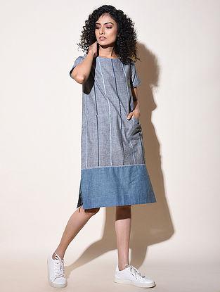 AADRITA - Blue Cotton Mangalgiri Dress with Top Stitch