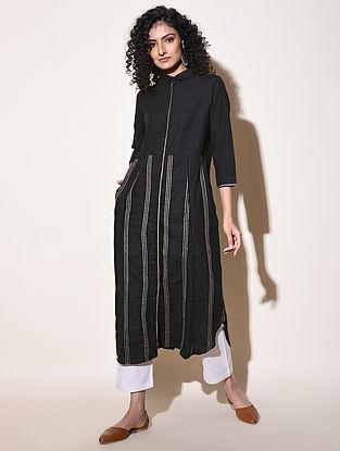 CHARUL - Black Cotton Mangalgiri Dress with Top Stitch