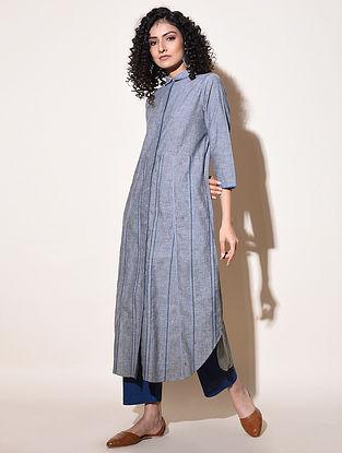 KAMYA - Blue Cotton Mangalgiri Dress with Top Stitch