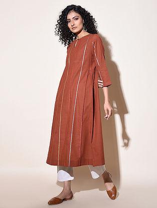 ADAYA - Rust Cotton Mangalgiri Kurta with Top Stitch