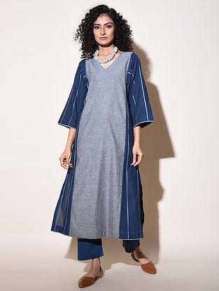 ARIZA - Blue Cotton Mangalgiri Kurta with Top Stitch