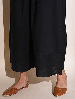 Black Elasticated waist Cotton Raw Edge Palazoo