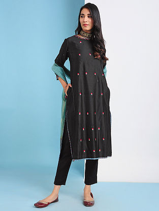 ANDIJAN - Black Embroidered Silk Cotton Kurta