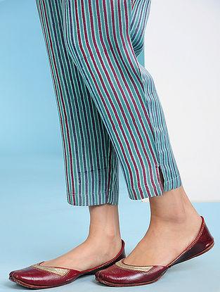 QUVA - GREEN-Red Block Printed Elasticated Waist Modal Pants