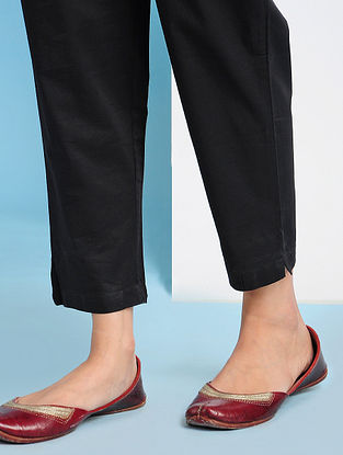 PISKENT - Black Elasticated Waist Cotton Pants