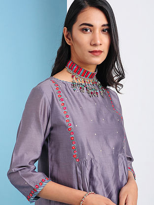 TERMEZ - Purple Silk Cotton Kurta with Embroidery