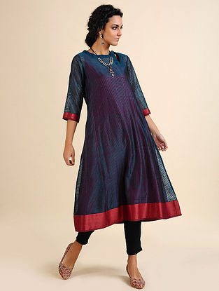AJAANI - Teal Handloom Maheshwari Kurta with Contrast Border (Set of 2)