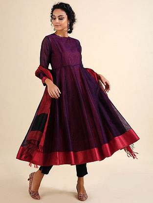 ISHA - Purple Handloom Maheshwari Kalidar Kurta with Contrast Border (Set of 2)