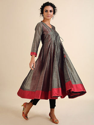 JAMINI - Grey Handloom Maheshwari Angrakha with Contrast Border (Set of 2)