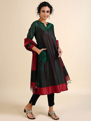 NEESHA - Green Handloom Maheshwari Kurta with Contrast Border (Set of 2)