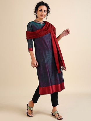 NIDA - Teal Handloom Maheshwari Kurta with Contrast Border (Set of 2)