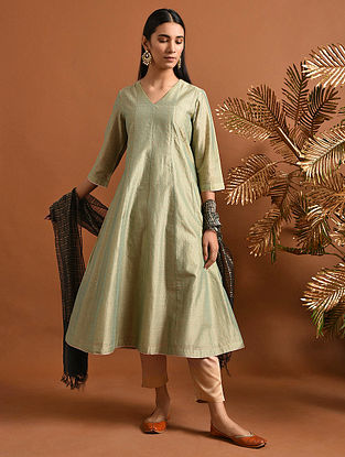 GANGASATI - Green Khari Block Printed Silk Cotton Kalidar Kurta