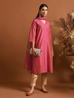 JANABAI - Pink Khari Block Printed Silk Cotton Kurta