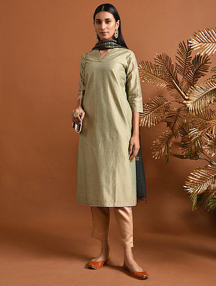 SAKHUBAI - Green Khari Block Printed Silk Cotton Kurta