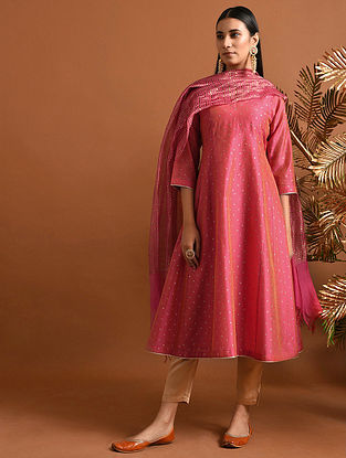 SARADA DEVI - Pink Khari Block Printed Silk Cotton Kurta with Slip