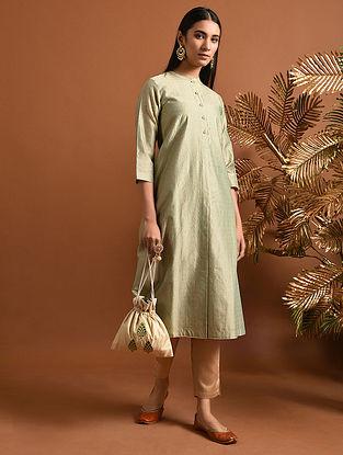 GARGI - Green Khari Block Printed Silk Cotton Kurta with Pockets