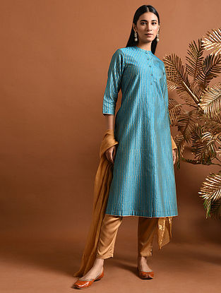 MAITREYI - Blue Khari Block Printed Silk Cotton Kurta with Pockets