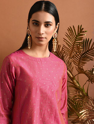 HEMALEKHA - Pink Khari Block Printed Silk Cotton Kurta with Pockets