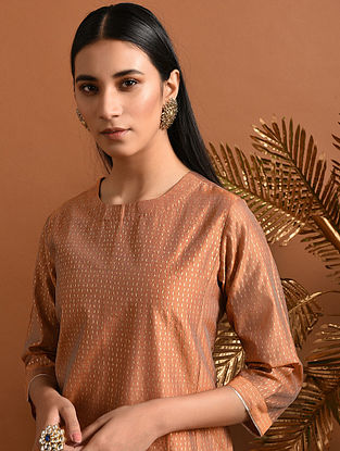 CHUDALA - Orange Khari Block Printed Silk Cotton Kurta with Pockets