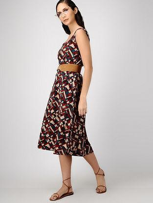 Indigo-Madder Ajrakh-printed Reversible Cotton Dress