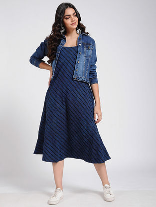 Indigo Ajrakh Printed Cotton Dress