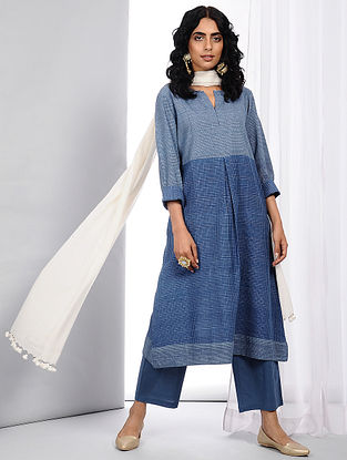 Blue Handloom Cotton Kurta with Pleats